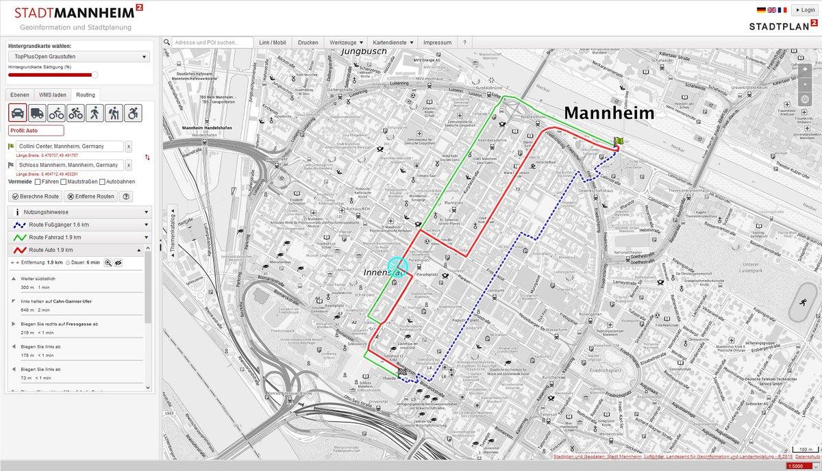 openrouteservice im Stadtportal Mannheim